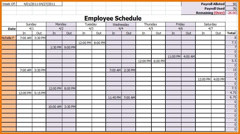 Free Employee Schedule Template.Employee Work Schedule Template ...