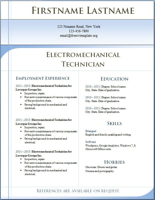 Free CV templates #1 to 7 Electromechanical Technician ...