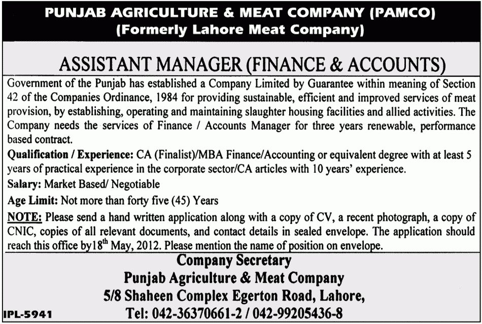 Assistant Manager Finance & Accounts Job Opportunity 2017 Jobs ...
