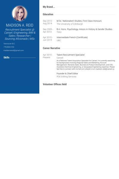 Recruitment Specialist Resume samples - VisualCV resume samples ...
