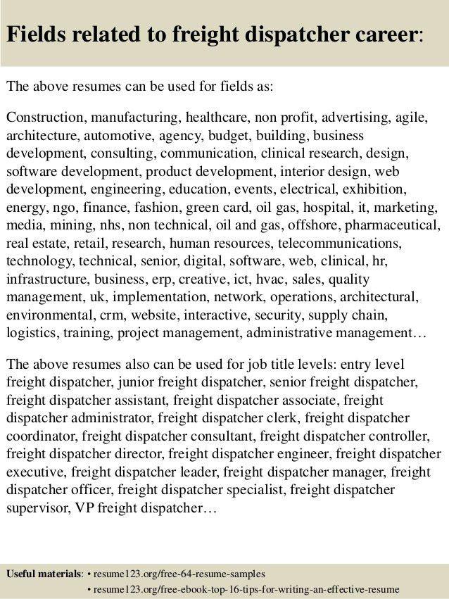 Top 8 freight dispatcher resume samples