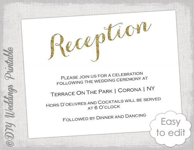 "Wedding Reception Invitation Template DIY ""Gold Glitter"" Printable ..."