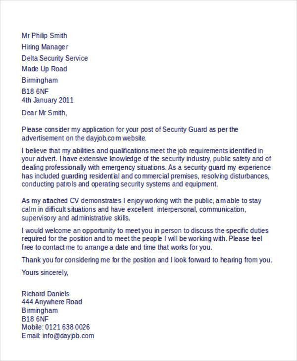 Security Guard Cover Letter - 9+ Free Word, PDF Format Download ...