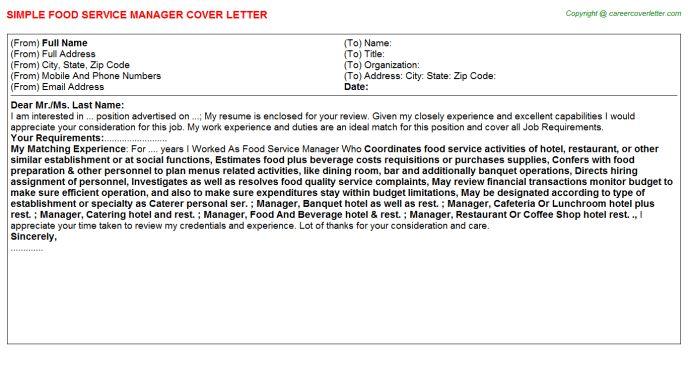 Food Service Manager Job Title Docs