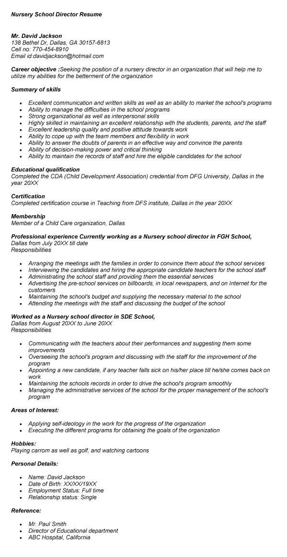 Resume For Nursery School. Sample Resume Kindergarten Teacher ...