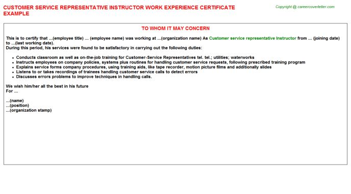 Customer Service Representative Instructor Work Experience Certificate