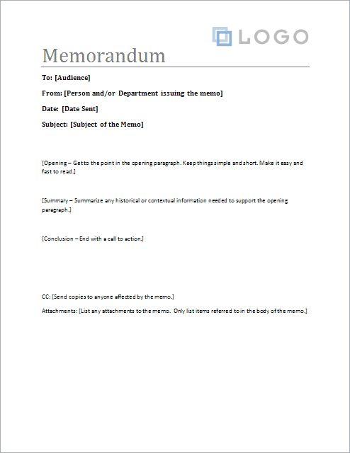 Free Memorandum Template - Sample Memo Letter
