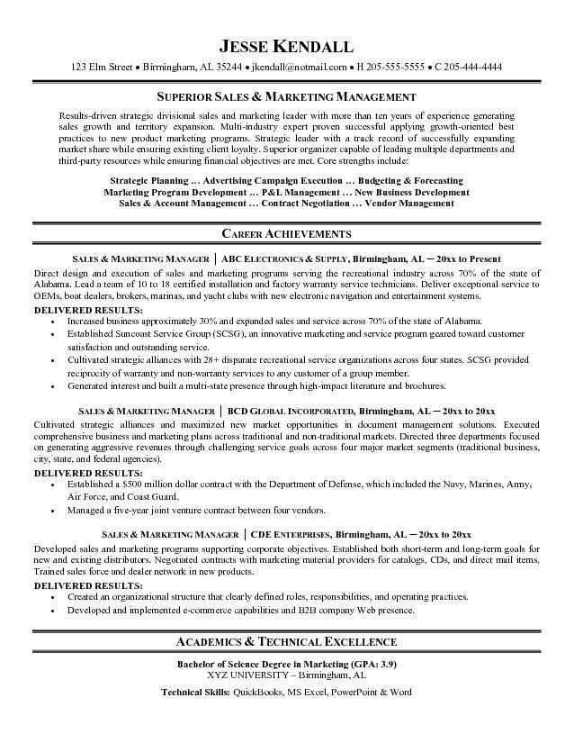 Marketing Resume Format. Resume Sample 13 Sales Amp Marketing ...