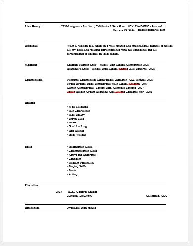 100+ [ Actor Resume Sample ] | Download Actor Resume ...