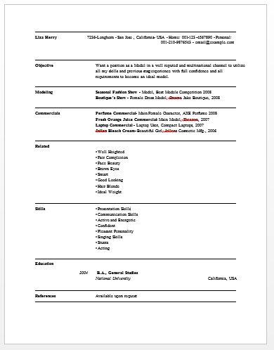 Download Model Resume Template | haadyaooverbayresort.com
