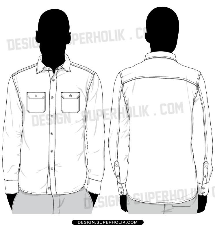 Button up shirts vector template set | Fashion Vector Templates ...