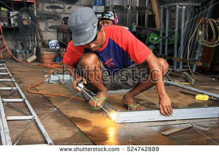 Worker Grinding No Safety Equipment Stock Photo 64734304 ...