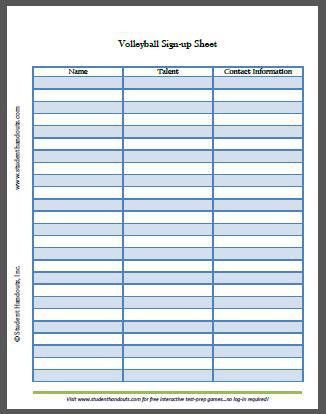 Free Printable Volleyball Sign-up Sheet | Student Handouts