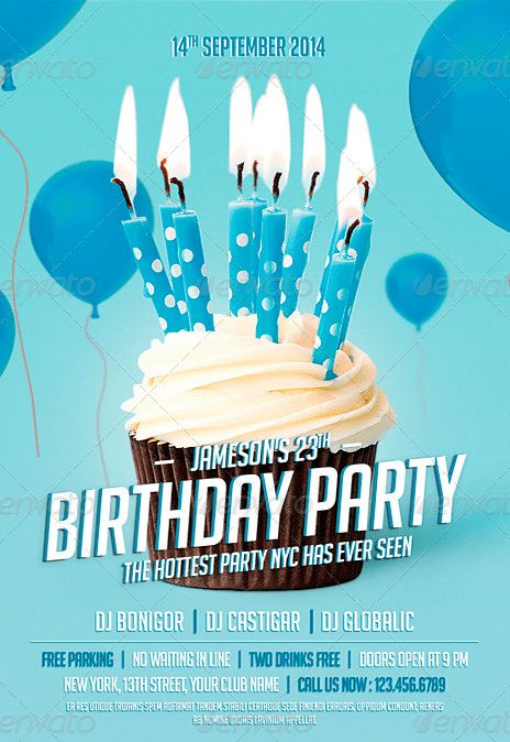 Birthday Party Flyer Vector ~ Image Inspiration of Cake and ...
