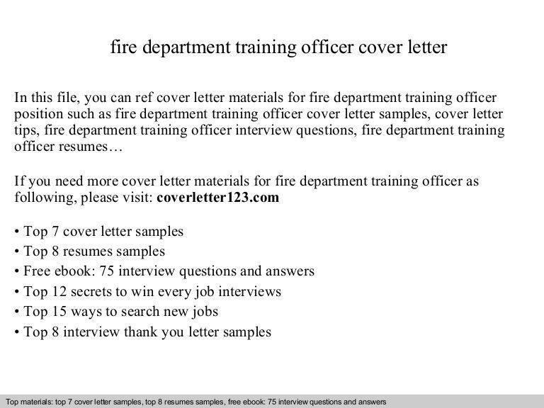 Fire department training officer cover letter