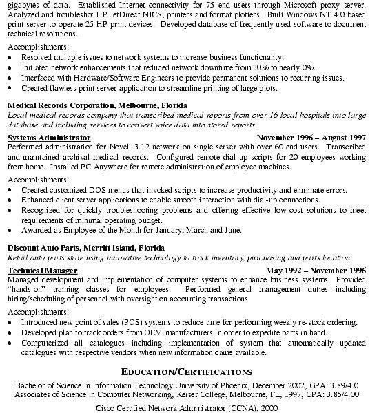 ccna resume sample ccnp network engineer resume free word