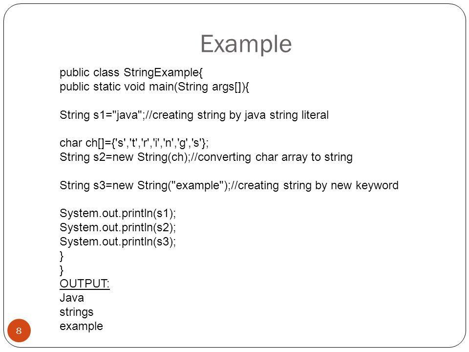 Java String 1. String String is basically an object that ...