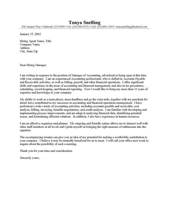 Cpa Cover Letter Examples - Best Letter Sample