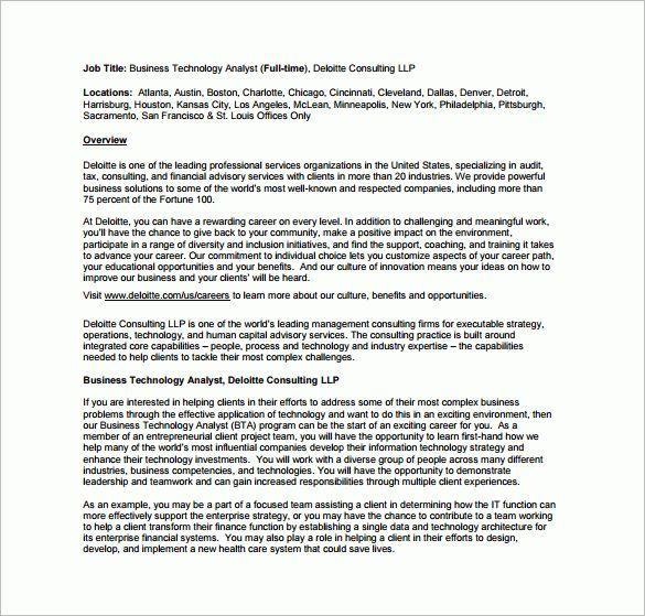 11 business analyst job description templates free sample
