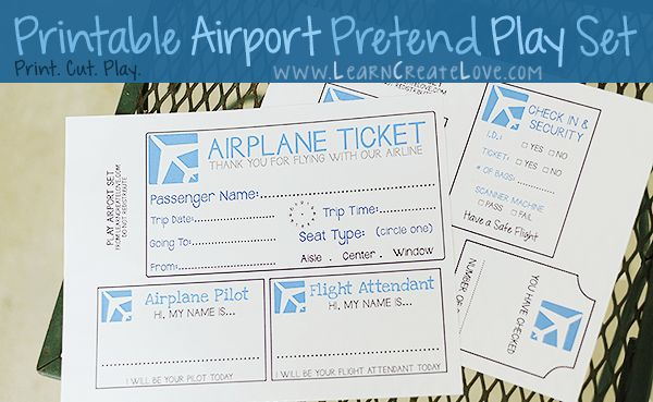 Printable Pretend Play Set: Airport