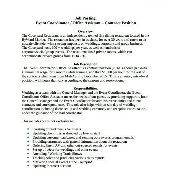 Sample Event Coordinator Resume - 7+ Documents in PDF