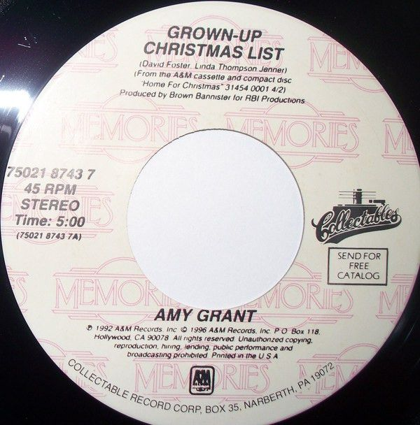 Amy Grant - Grown Up Christmas List (Vinyl) at Discogs