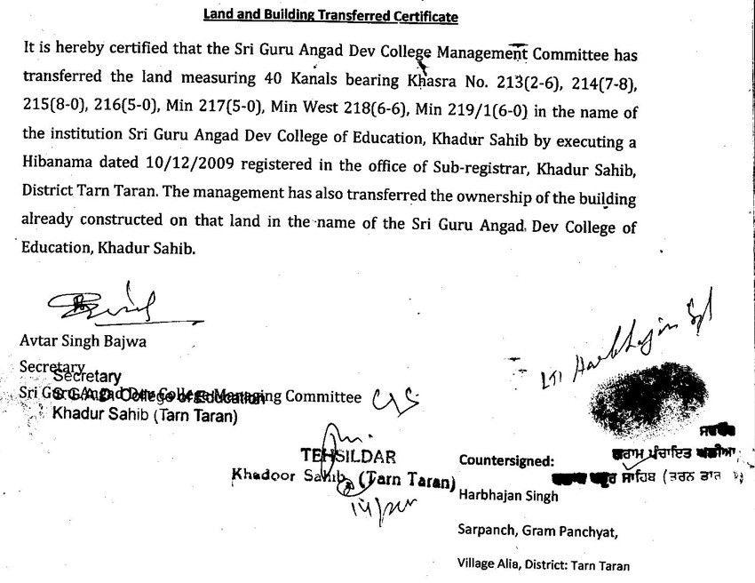 Building Completion Certificate - Sri Guru Angad Dev College of ...
