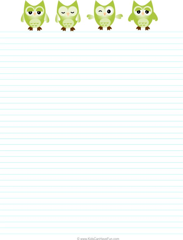 OWL Writing Paper - Lined Paper - Owl Theme   Paper owls, Writing ...