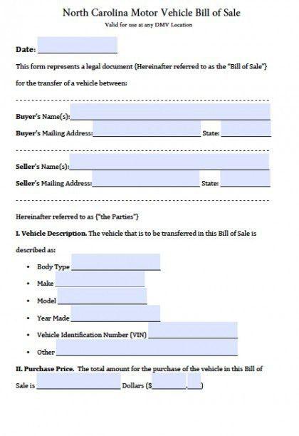 Free North Carolina DMV (Vehicle) Bill of Sale Form | PDF | Word ...