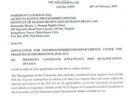 UNIPORT Confirms: Mr Jonathan A Fake Doc! Has No PhD - NewsRescue.com