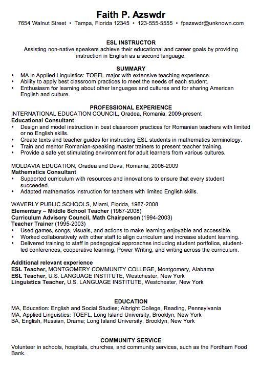Resume Example for an ESL Instructor - Susan Ireland Resumes