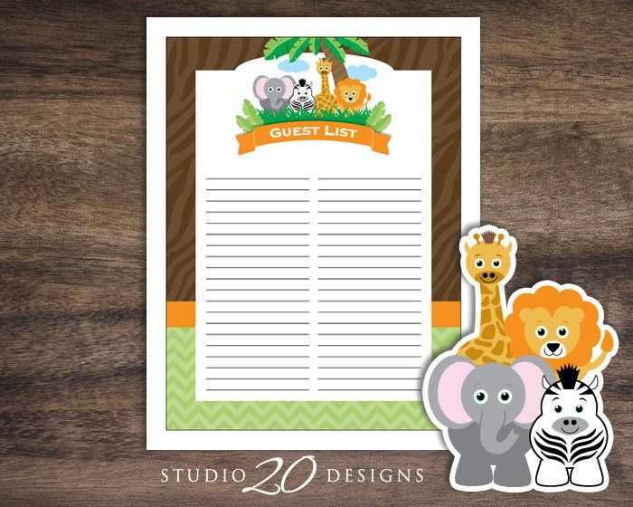 Instant Download Safari Guest List Printable Jungle Baby