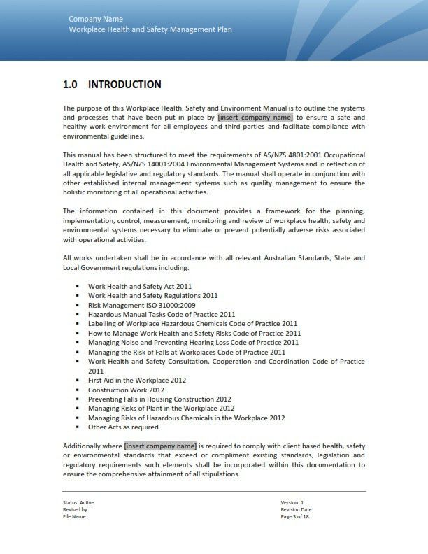 Safety Plan Template Safety Plan Template  Documents In Pdf