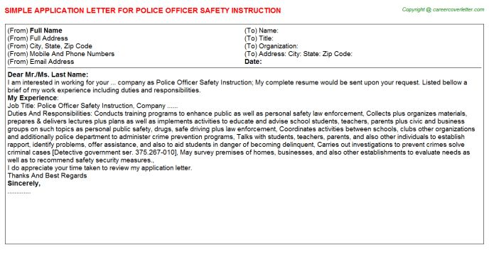 Officer Safety Patrol Application Letters