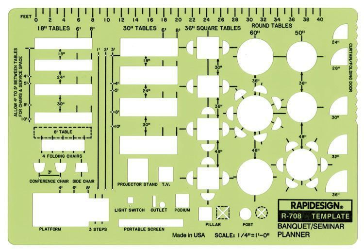 Rapidesign® Banquet/Seminar/Conference Planner Template - Scale: 1 ...