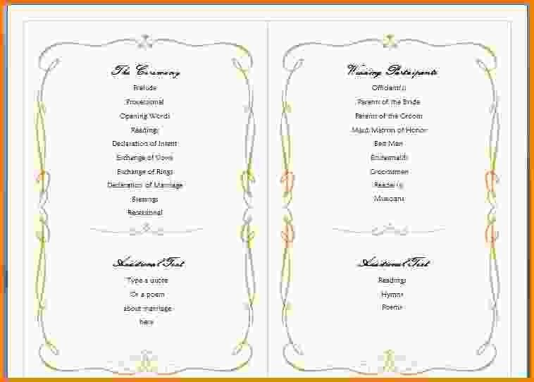 10+ wedding program template word - LetterHead Template Sample