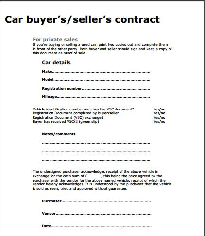 Car Sale Contract Template | Free Sample Templates