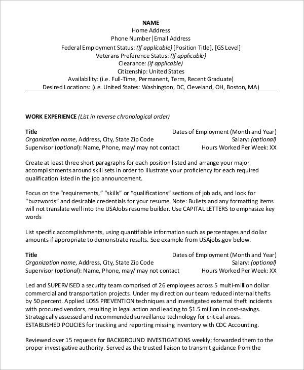 Federal Government Resume Template. Government Resume Example And ...