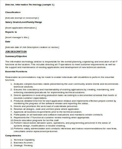 IT Director Job Description Sample - 6+ Examples in Word, PDF