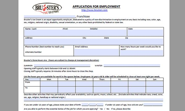 Bruster's Ice Cream Job Application - Adobe PDF - Apply Online