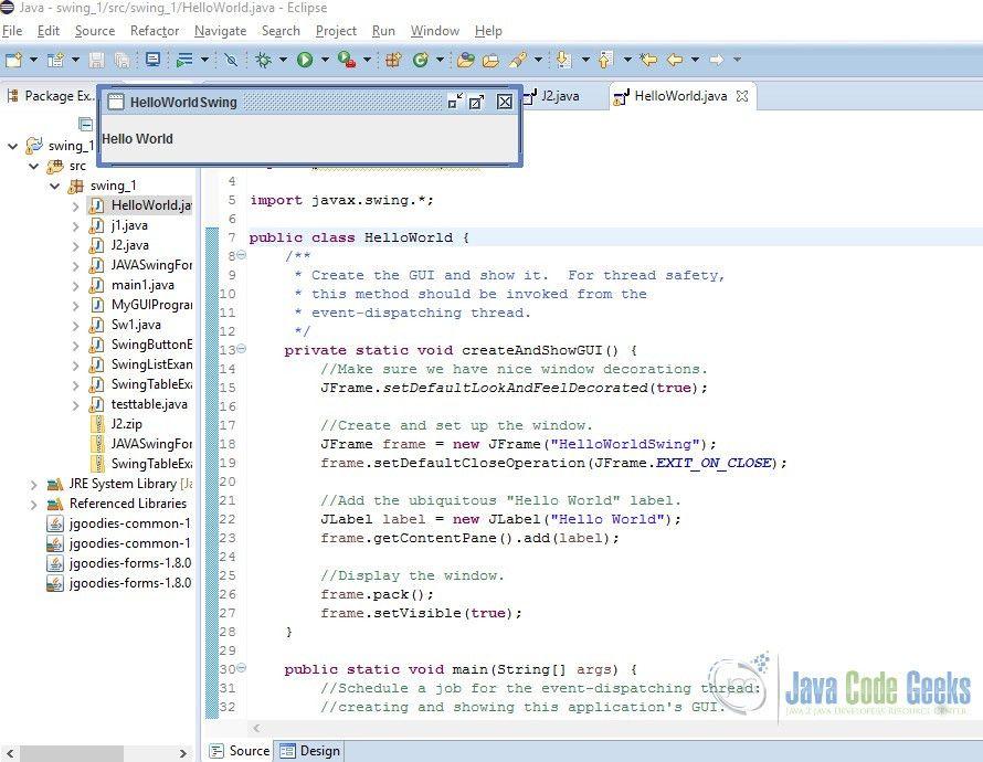JAVA Swing Application Example | Examples Java Code Geeks - 2017