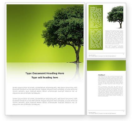 Green Tree On Light Olive Background Word Template 03109 ...