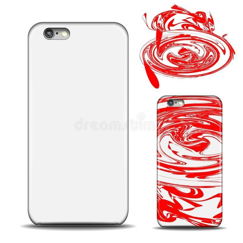 Realistic Phone Cover Mockup. Blank Template For Design. Red ...