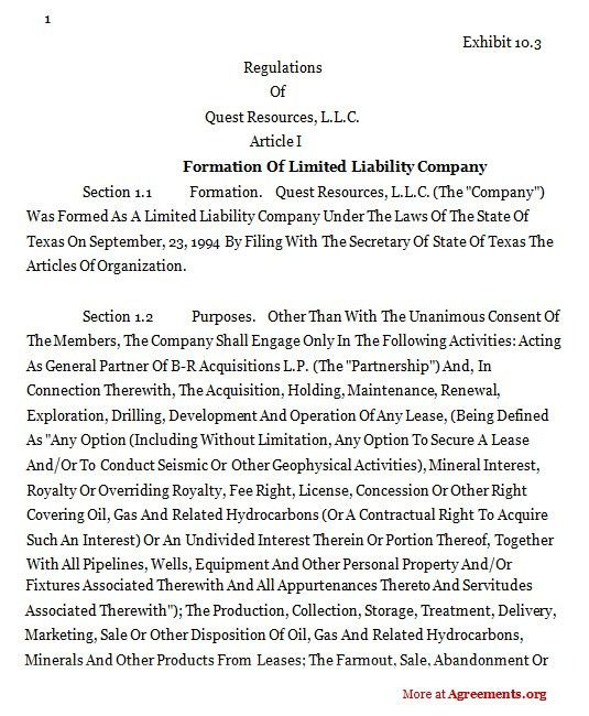 Formation of Limited Liability Company Agreement,Sample Formation ...