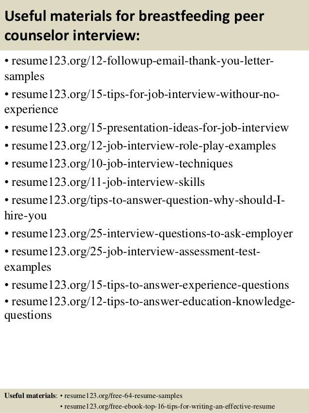 Top 8 breastfeeding peer counselor resume samples