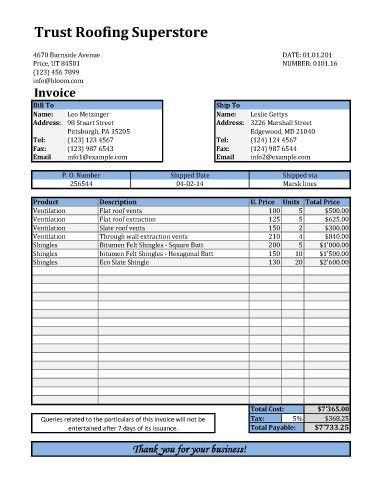 Download Roofing Invoice Template Excel | rabitah.net