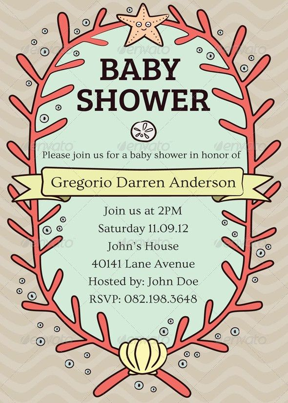 Baby Shower Card Template by Cetaceans | GraphicRiver