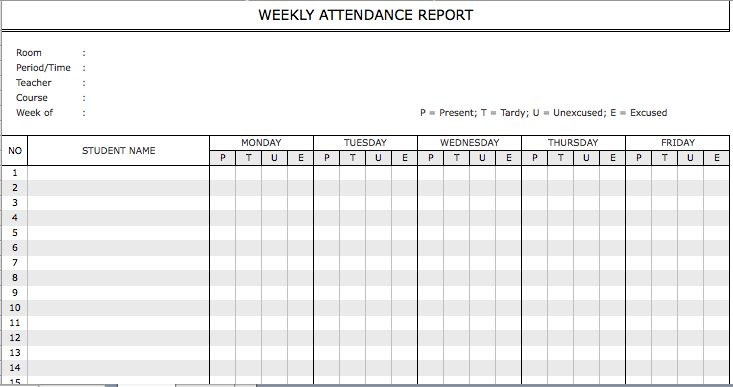 Sample Weekly Attendance | Microsoft Excel Templates
