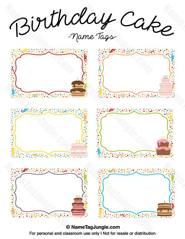 Free printable birthday cake name tags. The template can also be ...