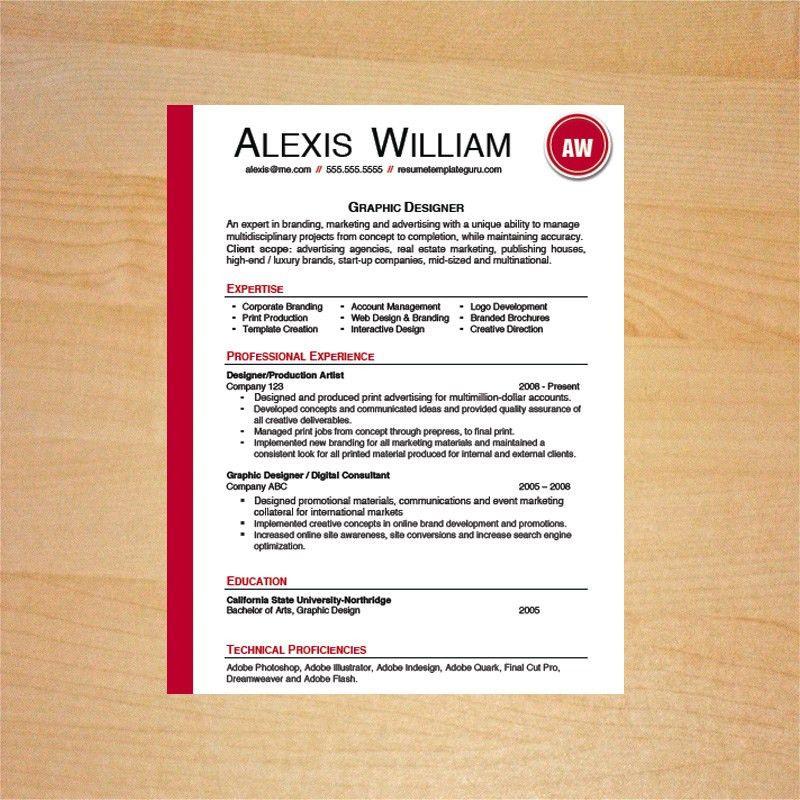 Graphic Designer Resume Template - Resume Template Guru